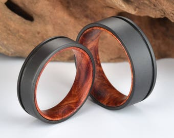 Rose Wood Burl Titanium Gun Metal Grey Sandblasted Wedding Ring Lined With Rose Wood Burl
