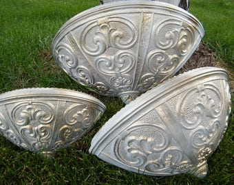SALE Wall Pockets / Vintage Home Decor / Graduated 3 Sizes / Refinished Gold and White / Ornate / One of a kind set of 3