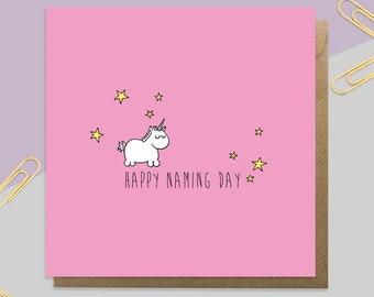 Girl's Unicorn Naming Day Card