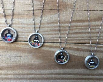 Superhero necklace with glass charm