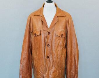 Vintage 90's Distressed Tan Brown Leather Blazer Jacket Indie XLarge 46 48
