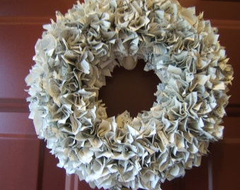 Vintage Sheet Music Upcycled Paper Wreath 10""