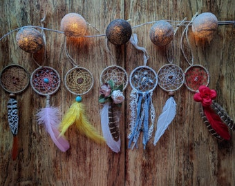 Mini car dreamcatcher/ Small dream catcher for baby carriage/ Floral dangler