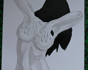 "female nude drawing erotic portrait ""Cache nipples"""