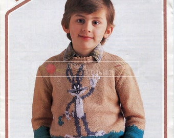 Child's Bugs Bunny Sweater DK 24-30ins Wendy 2826 Knitting Pattern PDF instant download