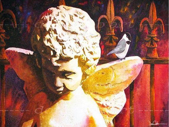 Fleur De Lis New Orleans Angel Art Chickadee Angel