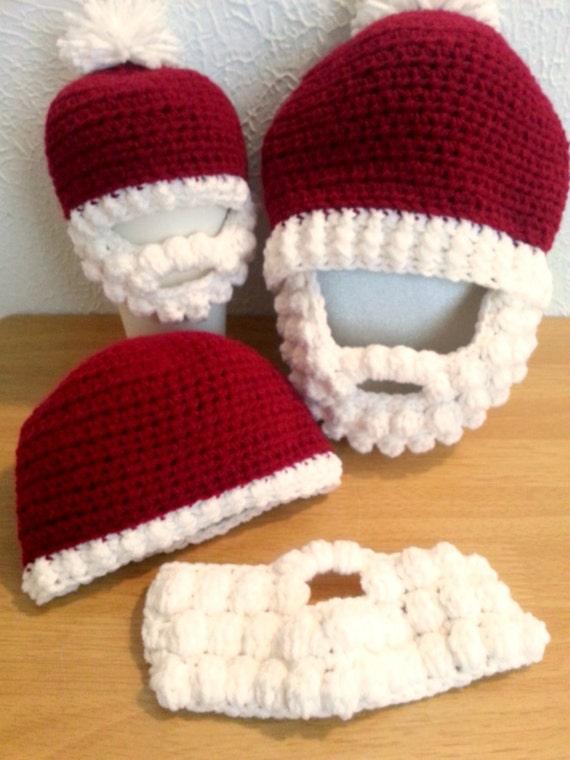 Gehäkelte Mütze mit Bart Baby Erwachsene rote und weiße