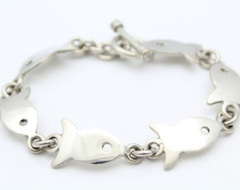 Chunky 8-Inch Fish Link Bracelet in Solid Sterling Silver. [8069]