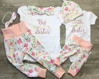 Big sister little sister sibling outfits/announcement shirts