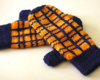 Hand Blankets mittens plaid knitting pattern