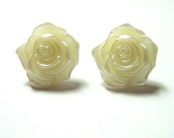 White Rose Earrings, Floral Studs, Pearly Flower Posts, Cream, Off White, Bridesmaid Earrings