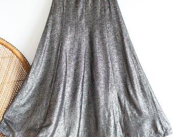 Vintage silver metallic paisley disco 70s boho gypsy maxi skirt Size S M