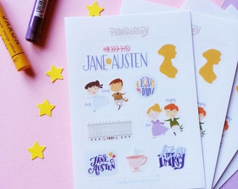 Jane Austen and Pride & Prejudice vynil stickers for planners or scrapbooking