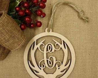 Monogram Antler Ornament - Personalized Christmas Ornament - Wooden Ornament - Personalized Gift Tag
