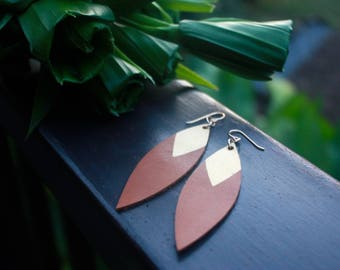 Painted Leather Leaf Earrings - Brown Leather and Gold with 14k Gold-Fill
