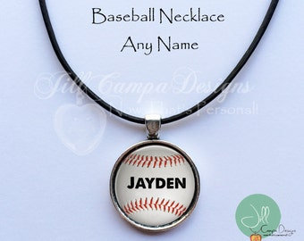 PERSONALIZED BASEBALL Name Necklace - custom baseball pendant - Custom Name - baseball - baseball fan gift - jewelry for boys -teen boy gift