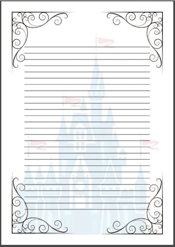 fairy tale writing paper template a4 cinderella disney. Black Bedroom Furniture Sets. Home Design Ideas