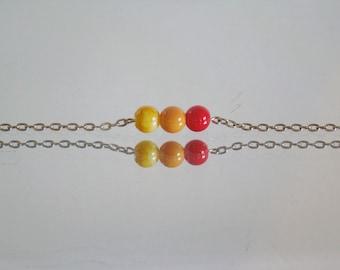 Orange Ombre Glass Bracelet