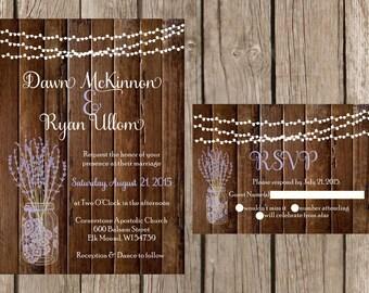 Rustic Wedding Invitation, Mason Jar Wedding Invitation, Lavender Wedding Invitaiton, Country Wedding Invitation, Barn Wedding Invitaiton