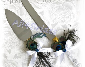 Peacock wedding cake serving set, gold accent peacock feather cake knife and server.  Peacock wedding decorations