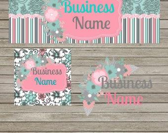 3D Aqua & Pink Facebook Business Set