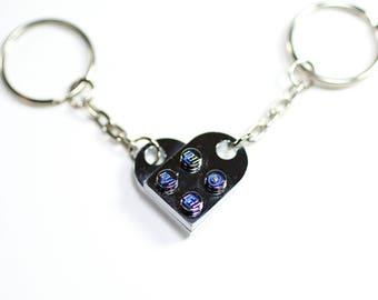 Chrome Engraved Heart LOVE Keychain Pair made from LEGO Bricks
