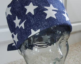 Tie Back Surgical Scrub Hat with Patriotic Stars on Navy