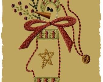 Snowman Mitten--5x7--Primitive Machine Embroidery Design--INSTANT DOWNLOAD