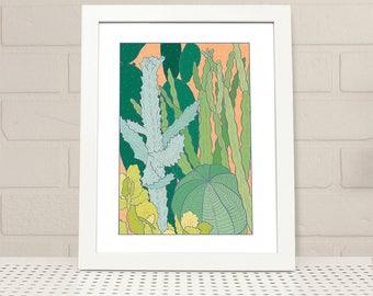 Cacti Printable Wall Art INSTANT DOWNLOAD, cactus print, digital print, illustration, plant print