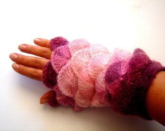 Pink Opal  yarn Fingerless Mittens Gloves No 9