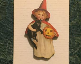 Vintage Style Girl with Cat Halloween Needleminder
