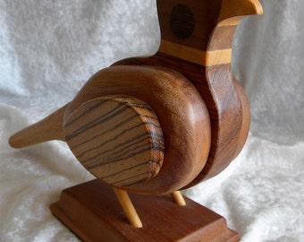 "SALE  SALE  Vintage Laminated Wood Pheasant Bird Sculpture, Various Woods, 11"" by 7"""