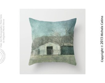 Old Barn Farm Landscape Blues and Trees Farm Barn Ranch House Rustic Photo Throw Pillow Cover