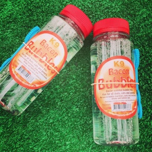 K9 Bacon flavoured pet bubbles, dogs love bacon...dogs love bubbles perfect, made in the UK