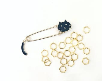 Large Cat Lover Enamel Pin and Gold Hexagon Stitch Markers for Knitting