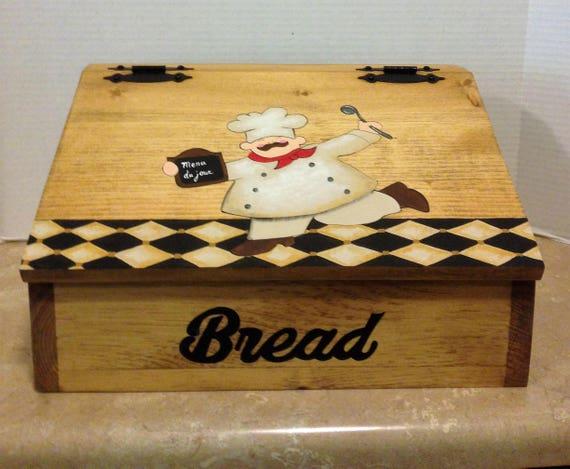 Bread Box, Wooden Bread Box, Chef Decor, Chef Kitchen Decor, Country Decor, Chef Theme, Kitchen Bread Box, Kitchen Decor, Box for bread