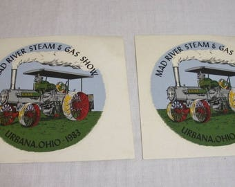 Vintage Pair 1983 Mad River Steam & Gas Show Decals - Urbana Ohio