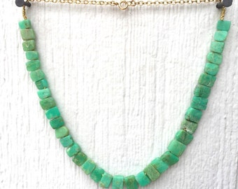 Chrysoprase Necklace - Green Gemstone Jewellery - Gold Chain Jewelry - Beaded - Mint