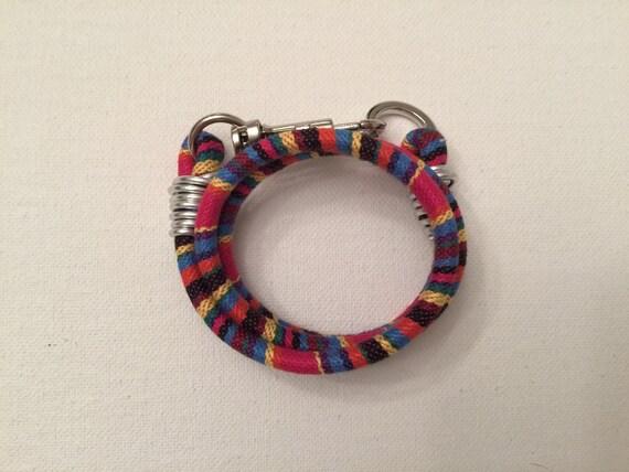 Cotton Mulit Colored & Silver Hardware Wrap Bracelet