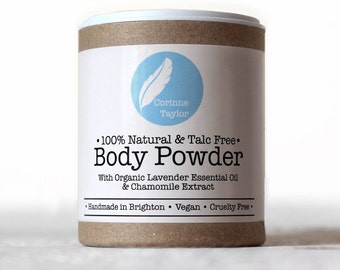 Organic Talc-free Body Powder with Roman Chamomile and Lavender. 85g.
