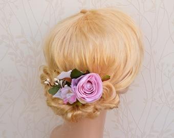 Pink floral hair clip, Pink bridal hair accessories, Rustic wedding headpiece, Floral hair clip, Rose hairpice, Wedding headpiece, Soft pink
