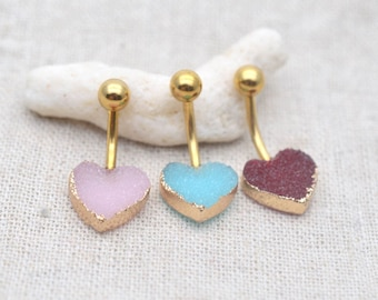 Sale-druze belly button rings,heart belly button jewelry,druzy navel ring,bff gift