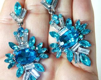 Rhinestone Chandelier Earrings Bridal Prom Pageant 2.5 inch Long Aqua Blue