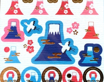 Mount Fuji Stickers - Japanese Washi Paper Stickers - Chiyogami Stickers - Mountain Stickers  (S208)