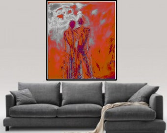 Lovers, Original acrylic painting, giclee canvas print, acrylic painting on canvas, bedroom, Living Room Wall Art abstract figurative Art
