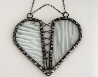 Clear Stained Glass Valentine's Day Corset Heart
