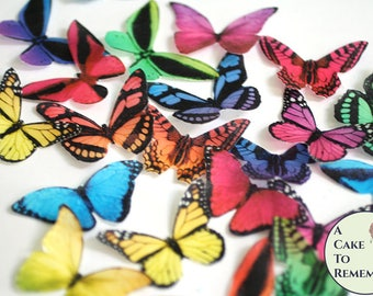 """20 rainbow edible butterflies, wafer paper, 2"""" wide, for cake decorating, birthday cupcake toppers, woodland weddings, fairy parties"""