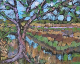"Oak tree on the Marsh 12"" square acrylic painting on canvas"