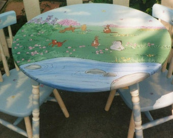 pooh table and chair set, hand painted kids table set, children's painted furniture, new baby gift