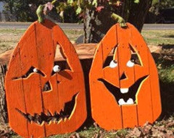 Happy Halloween! Character Wood Yard Pumpkins! Hand made, Hand Carved, Medium Sized, Reclaimed, Porch or Yard Decoration